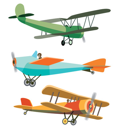 Illustration pour Set of Vector Retro Airplanes - image libre de droit