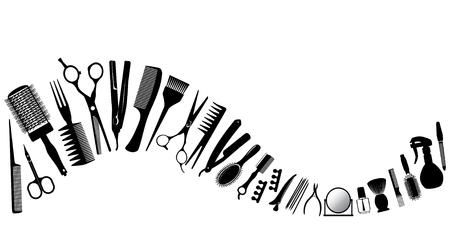 Illustration for Wave from silhouettes of tools for the hairdresser. Vector illustration. - Royalty Free Image