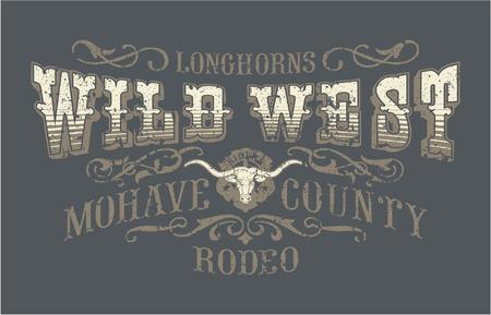 Illustration pour Wild west rodeo, vintage vector artwork for boy wear, grunge effect in separate layers - image libre de droit