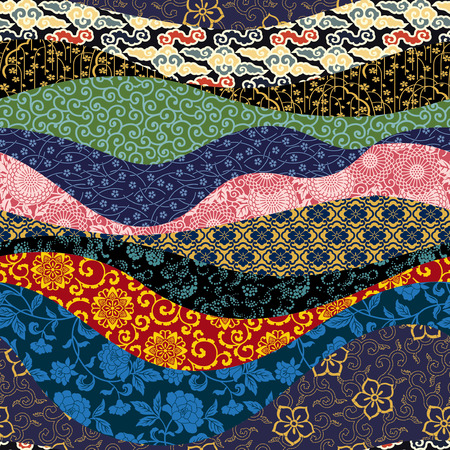 Illustration pour Chinese patchwork vector oriental style seamless pattern - image libre de droit