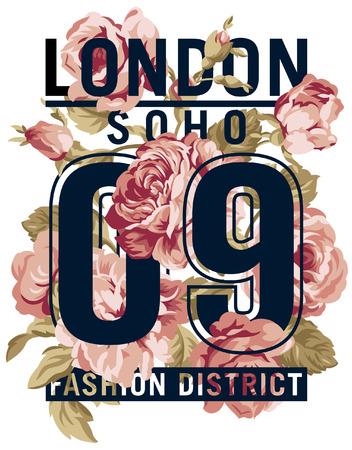 Illustration for Soho London Roses  vector artwork for women wear in custom colors - Royalty Free Image