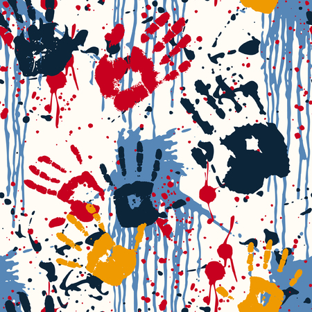 Illustration pour Hand prints and blots, abstract vector seamless pattern - image libre de droit