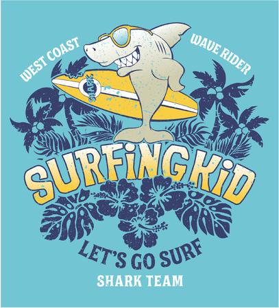 Ilustración de Shark surfing kid team, vector print for kids wear grunge effect in separate layer - Imagen libre de derechos