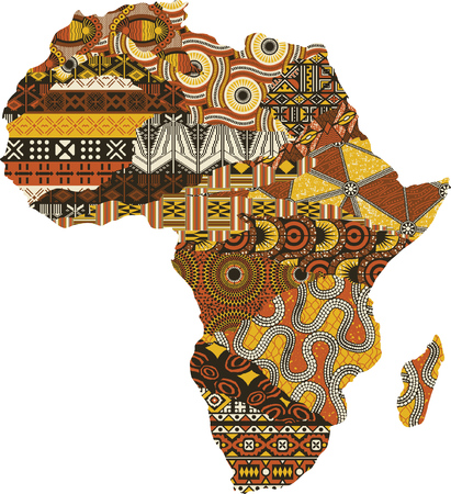 Illustration pour Abstract Africa map patchwork fabric, vector traditional ethnic pattern wallpaper - image libre de droit