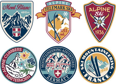 Illustration pour Alpine skiing and mountaineering patches vintage collection vector artworks of alps applique badges - image libre de droit