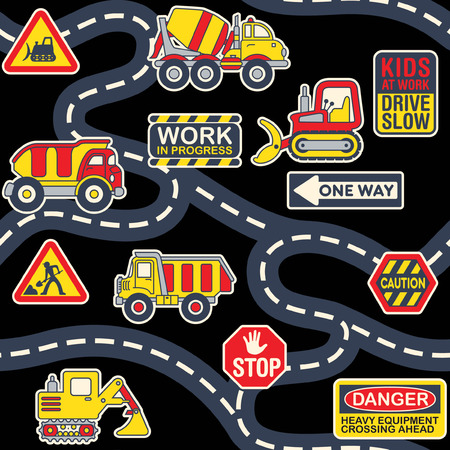 Illustration pour Cute heavy machinery equipment street map abstract vector print for children wear fabric seamless pattern wallpaper - image libre de droit