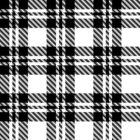 Pixel black and white tartan plaid vector seamless pattern