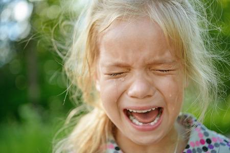Beautiful sad little girl crying