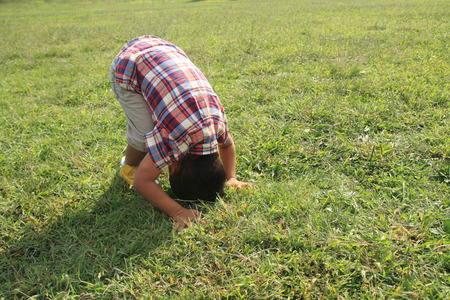 Photo for forward rolling Japanese boy (4 years old) - Royalty Free Image
