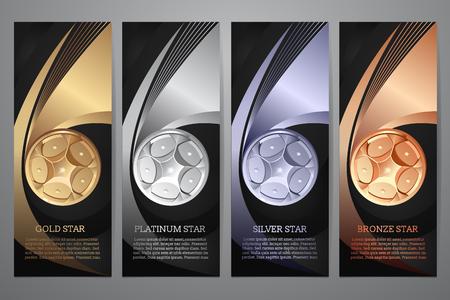 Illustration for Set of black banner, Gold, Platinum, Silver, Bronze, Vector illustraion. - Royalty Free Image