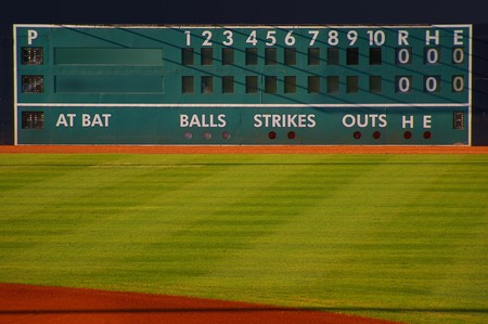 retro baseball scoreboard with blank Home and Visitor space mural