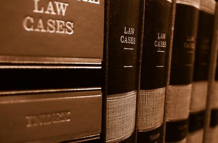 Photo pour Law cases and law books on a shelf - image libre de droit