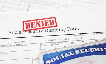 Photo pour Denied Social Security Disability application form - image libre de droit