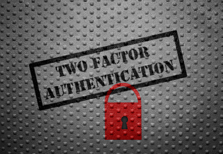 Photo pour Two Factor Authentication text with red lock - image libre de droit