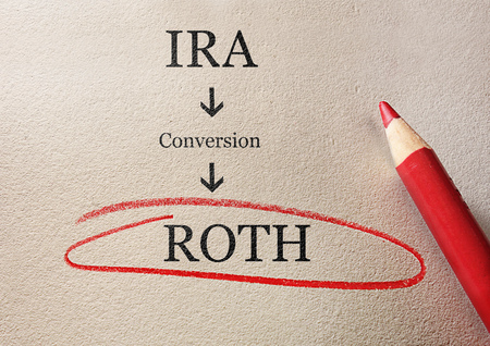 Photo pour Traditional IRA to Roth IRA conversion concept, circled in red pencil - image libre de droit