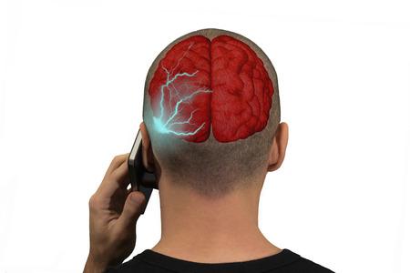 Foto de Phone emits waves in the brain of a person - Imagen libre de derechos