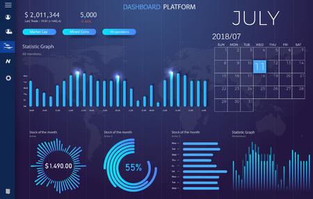 Ilustración de Dashboard infographic template with modern design annual statistics graphs. UI elements eps10 - Imagen libre de derechos