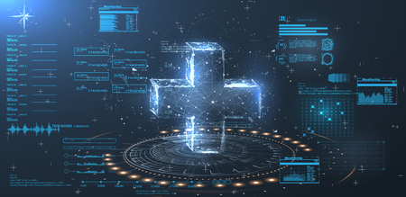 Ilustración de A hologram of a cross on a blue background in style  low poly wireframe. HUD UI for medical app. - Imagen libre de derechos