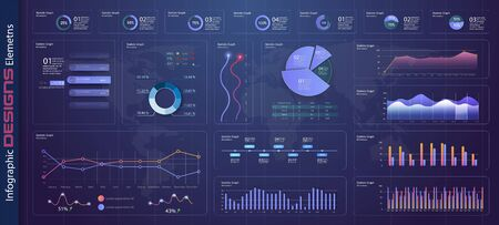 Illustration pour Infographic dashboard template with flat design graphs and pie charts Online statistics and data Analytics. Information Graphics elements for UI UX design. Modern style web elements. Stock vector - image libre de droit