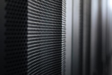 Modern data center. Modern black metal stylish server racks in a data center