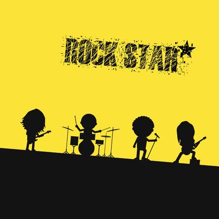 Illustration pour silhouette rock band on stage - image libre de droit