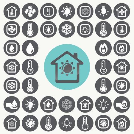Illustration pour Heating and Cooling icons set.  - image libre de droit