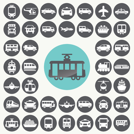 Illustration pour Public transportation icons set.  - image libre de droit