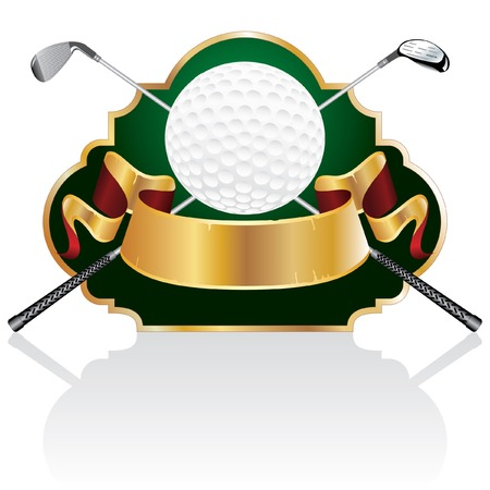 vector blank golf golden award with ball and clubs