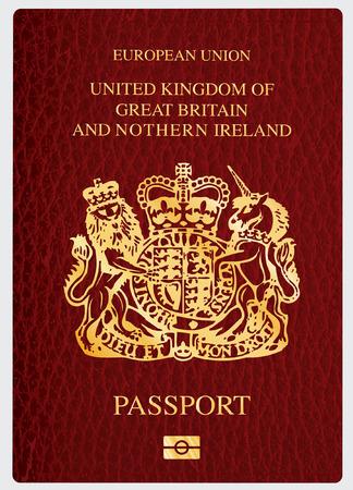 Illustration pour vector cover of biometric UK passport - image libre de droit