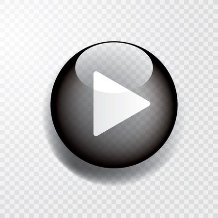 Ilustración de black transparent play button with shadow, icon - Imagen libre de derechos