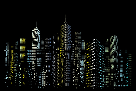 Illustration pour Modern City skyline, city silhouette with blue and yellow windows, vector illustration in flat design - image libre de droit