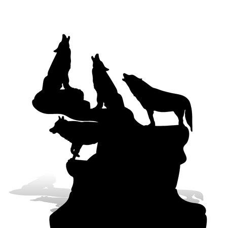 Ilustración de A flock of wolves howling at the moon, on top of a mountain, silhouette on a white background, vector - Imagen libre de derechos