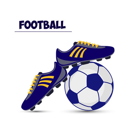 Ilustración de Soccer ball and dark blue football boots, on white background, vector - Imagen libre de derechos