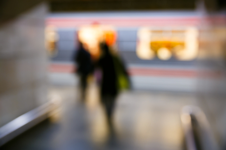 Foto de People on the subway station, blurred. Modern urban lifestyle, rush hour, stressful life, transition and passage abstract and concept. - Imagen libre de derechos