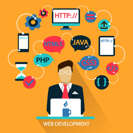 Illustration for Flat design of Freelance career: Web development  - Royalty Free Image