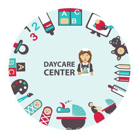 Daycare center emblem on a light background.