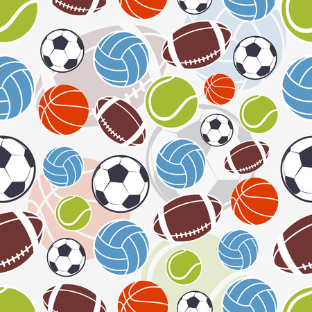 Ilustración de Seamless sports pattern. Sports colorful balls and emblem - Imagen libre de derechos