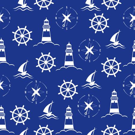 Illustration pour Set of sea and nautical  patterns - image libre de droit