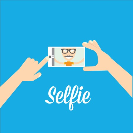 Illustration for Taking Selfie Photo on Phone   vector illustration - Royalty Free Image