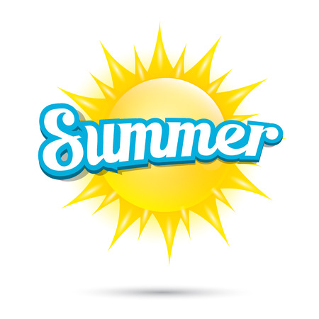 Illustration for vector summer label. summer icon with sun. - Royalty Free Image