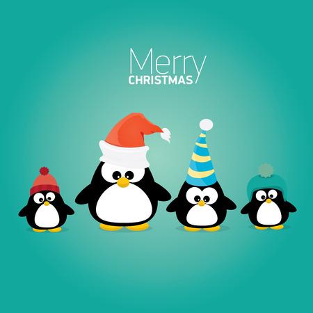 Illustration pour merry christmas card with penguins set. cartoon funny penguins - image libre de droit