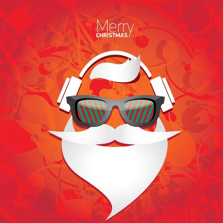 Illustration pour Vector Hipster santa poster for party or greeting card. - image libre de droit