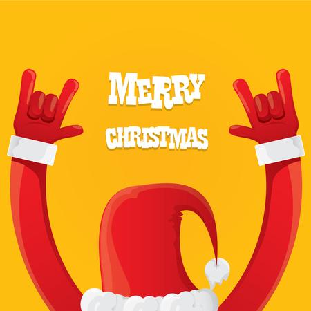 Illustration pour Santa Claus hand rock n roll icon illustration. Christmas Rock concert poster design template or greeting card - image libre de droit