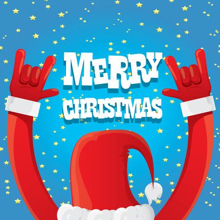 Illustration pour Santa Claus hand rock n roll icon illustration. Christmas Rock n roll concert poster design template or greeting card - image libre de droit