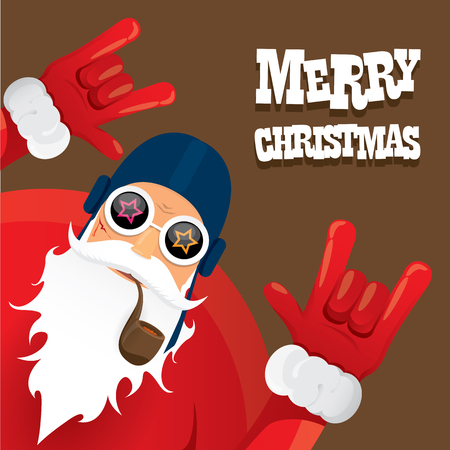 Illustration pour biker santa claus with smoking pipe. Christmas hipster poster for party or greeting card. - image libre de droit