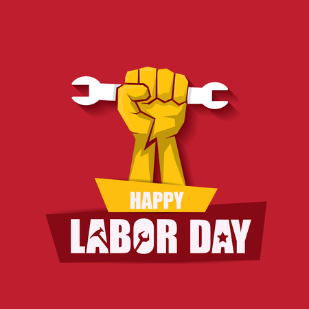 Illustration pour labor day Usa vector label or banner background. vector happy labor day poster or banner with clenched fist isolated on red . Labor union icon - image libre de droit
