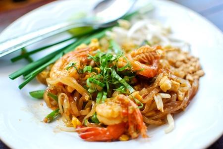 Thai style noodle with fresh shrimp , Pad thai , Thailand