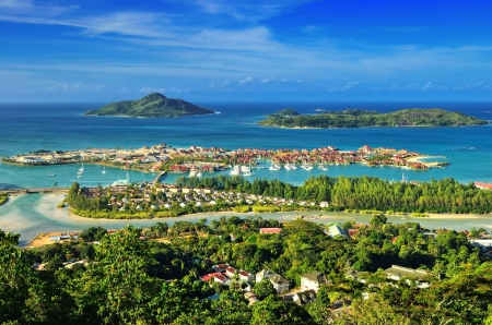Photo for Aerial view on the coastline of the Seychelles Islands and luxury Eden Island from Victoria viewpoint, Mahe  - Royalty Free Image