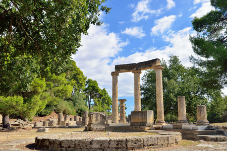 Photo pour Greece Olympia, ancient ruins of the important Philippeion in Olympia - UNESCO world heritage site - image libre de droit