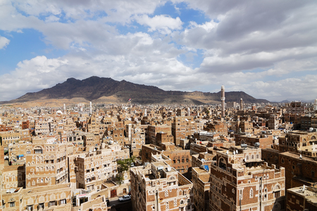 Photo for Old city of Sanaa the capital of Yemen. View on the city from roof - Royalty Free Image